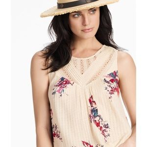 Lucky Brand Floral Print Lace Crochet Tank Top